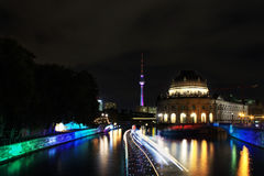 Festival of lights Berlin. View of tvtower and bodemuseum at spreeriver in Berlin stock photo