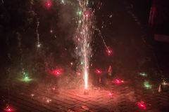 Festival of lights crackers being bursted out at night royalty free stock image
