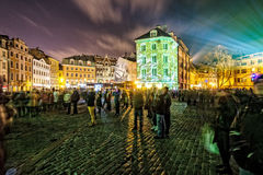 Festival of Lights in the city. People walking in the streets. Long exposure photography. RIGA, LATVIA, NOVEMBER 17, 2014: Festival of Lights in the city Stock Images