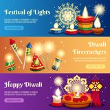 Diwali Horizontal Banners vector illustration