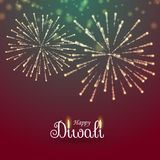 Festival of lights happy diwali greeting with fireworks. Vector Royalty Free Stock Photo