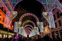 Festival of lights in Lyon Royalty Free Stock Image