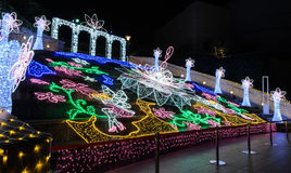 Festival of the lights with rainbow flower in Osaka, Japan Royalty Free Stock Photos