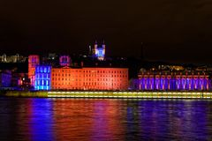 Festival of the lights on Saone river banks in Lyon Stock Photos