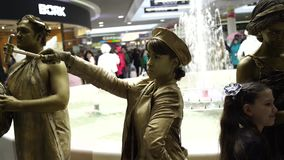 Festival of living statues, living statue stock video