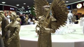 Festival of living statues, living statue stock video footage