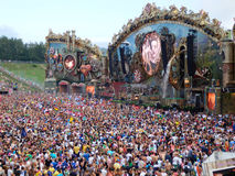 Festival main stage. View of the main stage of the Tomorrowland festival in the town of Boom, Belgium (Friday, 25th of July 2014 Stock Images