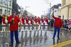 Festival of the majorettes on the street. ZRENJANIN, SERBIA, 12, JANUARY 2019; Street promotion of the majorettes from Herceg Novi, Montenegro and announcements stock photography