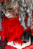 Festival mask and wig. Woman wearing a festival mask and costume stock photo