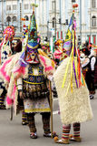 The Festival of the Masquerade Games Surva in Varna, Bulgaria. Varna, Bulgaria - January 30, 2016: Unidentified man in traditional Kukeri costume are seen at royalty free stock photography