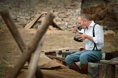 festival Militare-storico Chortkiv Athenziv in Chortkiv dal 15 al 17 giugno 2018 Soldato polacco Fotografia Stock