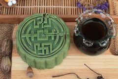 Festival moon cake - china dessert with green tea. Royalty Free Stock Photography