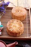 Festival moon cake and tea  - china dessert delicious. Royalty Free Stock Photos