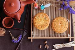 Festival moon cake and tea  - china dessert delicious. Stock Photography