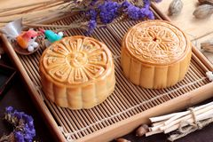 Festival moon cake and tea  - china dessert delicious. Royalty Free Stock Photography