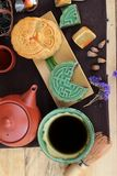 Festival moon cake and tea  - china dessert delicious. Stock Images