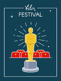 Festival movie poster. Award on scene before cinema hall. Outline flat style Stock Images
