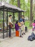 Festival music band. Bishkek, Kyrgyzstan - April 14, 2018: The festival music band plays in the park during the carnival royalty free stock images