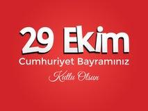 Festival national turc 29 Ekim Cumhuriyet Bayrami Traduction : Jour heureux de République du 29 octobre Jour national en Turquie  illustration de vecteur