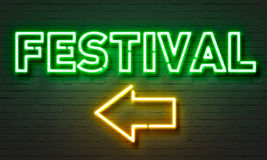 Festival neon sign on brick wall background. Festival neon sign on brick wall background Royalty Free Stock Photos