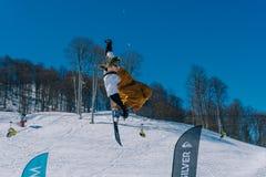 2017 04 Festival NewStarCamp: skier jumps from a high springboard Stock Photos