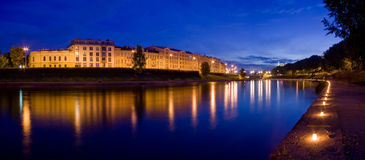 Festival Night in Vilnius. Night in Vilnius by Neris festival royalty free stock images
