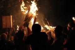Festival Nozawa Onsen Giappone del fuoco Fotografia Stock Libera da Diritti