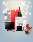 Festival Offer Home Appliances Vectors. Various Home Appliances and 3d Electronic Items Vectors Set Royalty Free Stock Photo