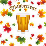 Festival Oktoberfest in the fall and beer. Glasses in maple leaves Stock Image