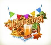Festival Oktoberfest, vettore della birra di Monaco di Baviera Barilotto, ciambellina salata, bevanda, luppolo, grano, sa illustrazione vettoriale