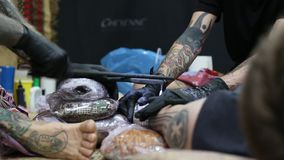Festival participant make a tattoos stock footage