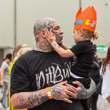 Festival participants at the 11-th International Tattoo Convention in the Congress-EXPO Center of Krakow. Royalty Free Stock Photography