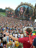 Festival party. View of the main stage of the Tomorrowland festival in the town of Boom, Belgium (Friday, 25th of July 2014 Royalty Free Stock Photography
