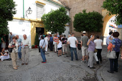 Festival of the Patios in Cordoba. Tourists waiting for the entering to a patio during the Festival of the Patios 2013 in Cordoba, Andalusia Spain Royalty Free Stock Images