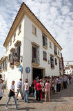 Festival of the Patios in Cordoba. Tourists waiting for the entering to a patio during the Festival of the Patios 2013 in Cordoba, Andalusia Spain Royalty Free Stock Photography