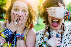 Festival people, facial expression Royalty Free Stock Photography