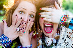 Festival people, facial expression Stock Photography