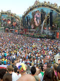 Festival people. View of the main stage of the Tomorrowland festival in the town of Boom, Belgium (Friday, 25th of July 2014 Royalty Free Stock Photo