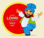 Festival piega punjabi Lohri di inverno popolare Uomo divertente del Sikh di dancing illustrazione vettoriale