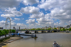 Festival Pier on the River Thames with London skyline. royalty free stock images