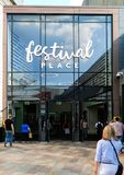 Festival Place Entrance. Basingstoke, United Kingdom - July 05 2018: The Entrance to Festival Place shoppng centre from the Malls stock photography