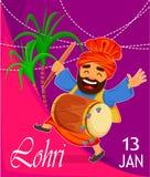 Festival popular Lohri del Punjabi popular del invierno stock de ilustración