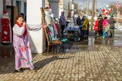 Festival popular ruso del invierno en la región de Kaluga el 13 de marzo de 2016 Foto de archivo libre de regalías