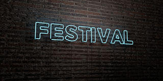 FESTIVAL -Realistic Neon Sign on Brick Wall background - 3D rendered royalty free stock image. Can be used for online banner ads and direct mailers Royalty Free Stock Images