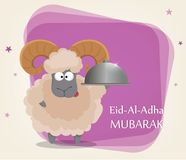 Festival of sacrifice Eid al-Adha. Traditional muslin holiday. Greeting card with funny ram holding restaurant cloche. Vector illustration on abstract violet Royalty Free Stock Photo