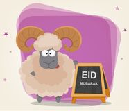 Festival of sacrifice Eid al-Adha. Traditional muslin holiday. Greeting card with funny ram standing near banner. Vector illustration on abstract violet Royalty Free Stock Photography