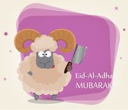 Festival of sacrifice Eid al-Adha. Traditional muslin holiday. Greeting card with funny ram holding cleaver. Vector illustration on abstract violet background Royalty Free Stock Image