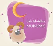Festival of sacrifice Eid al-Adha. Traditional muslin holiday. Greeting card with funny ram hanging on a moon. Vector illustration on abstract violet Stock Image