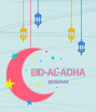 Festival of sacrifice Eid Al Adha. Greeting card with stars, moon and lanterns on abstract background. Vector illustration Royalty Free Stock Photography