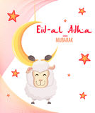 Festival of sacrifice Eid Al-Adha. Festival of sacrifice Eid-Al-Adha. Eid Mubarak. Goat hanging on the moon. Vector illustration on abstract background Stock Images